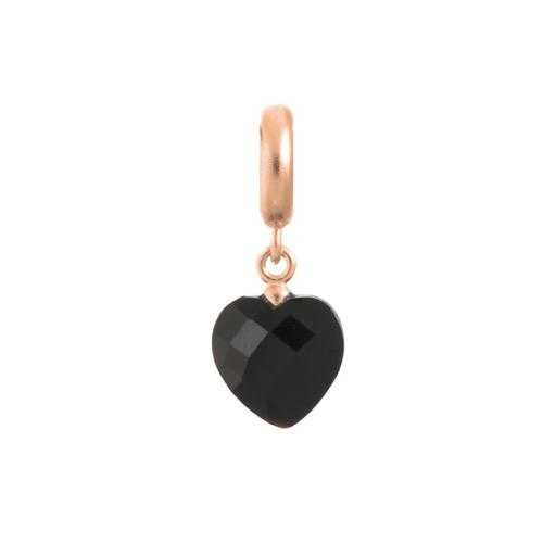 Black Heart Cut Drop Rose Gold