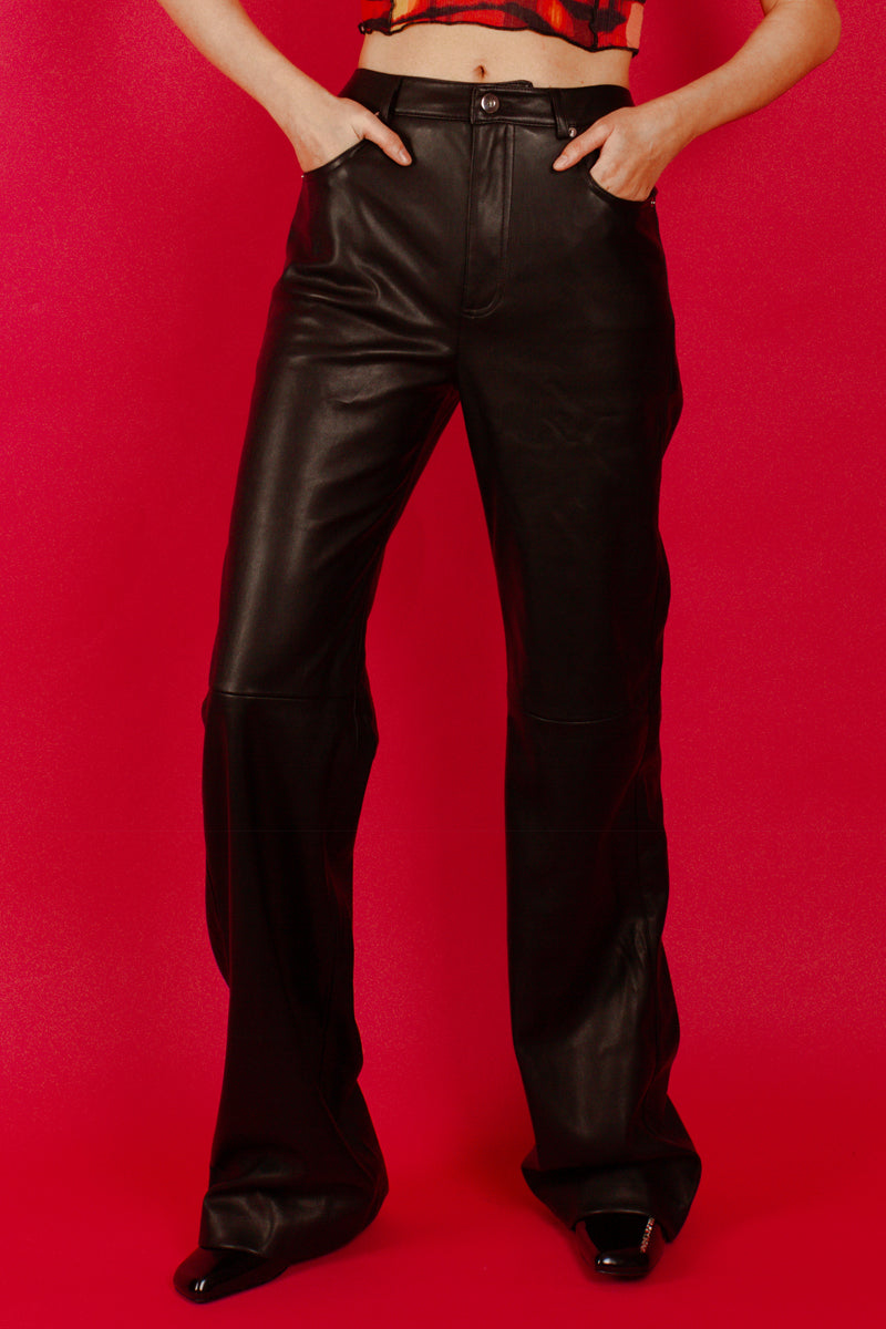Mango Leather Effect Straight Trousers