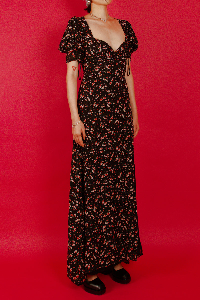 Lulus Sweetheart Floral Maxi Dress in Black