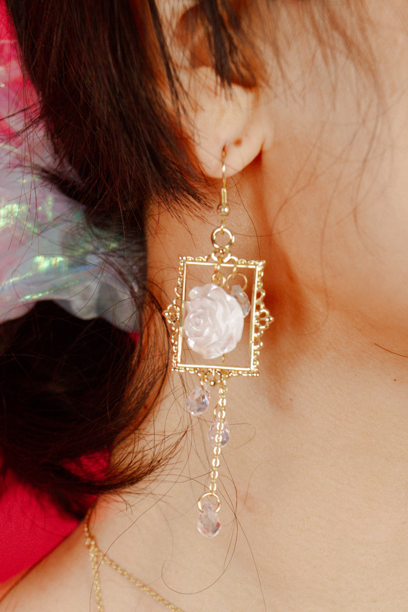 Versailles Asymmetrical White Rose Earrings