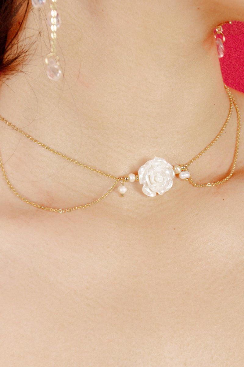Versailles White Rose Pendent Choker Necklace