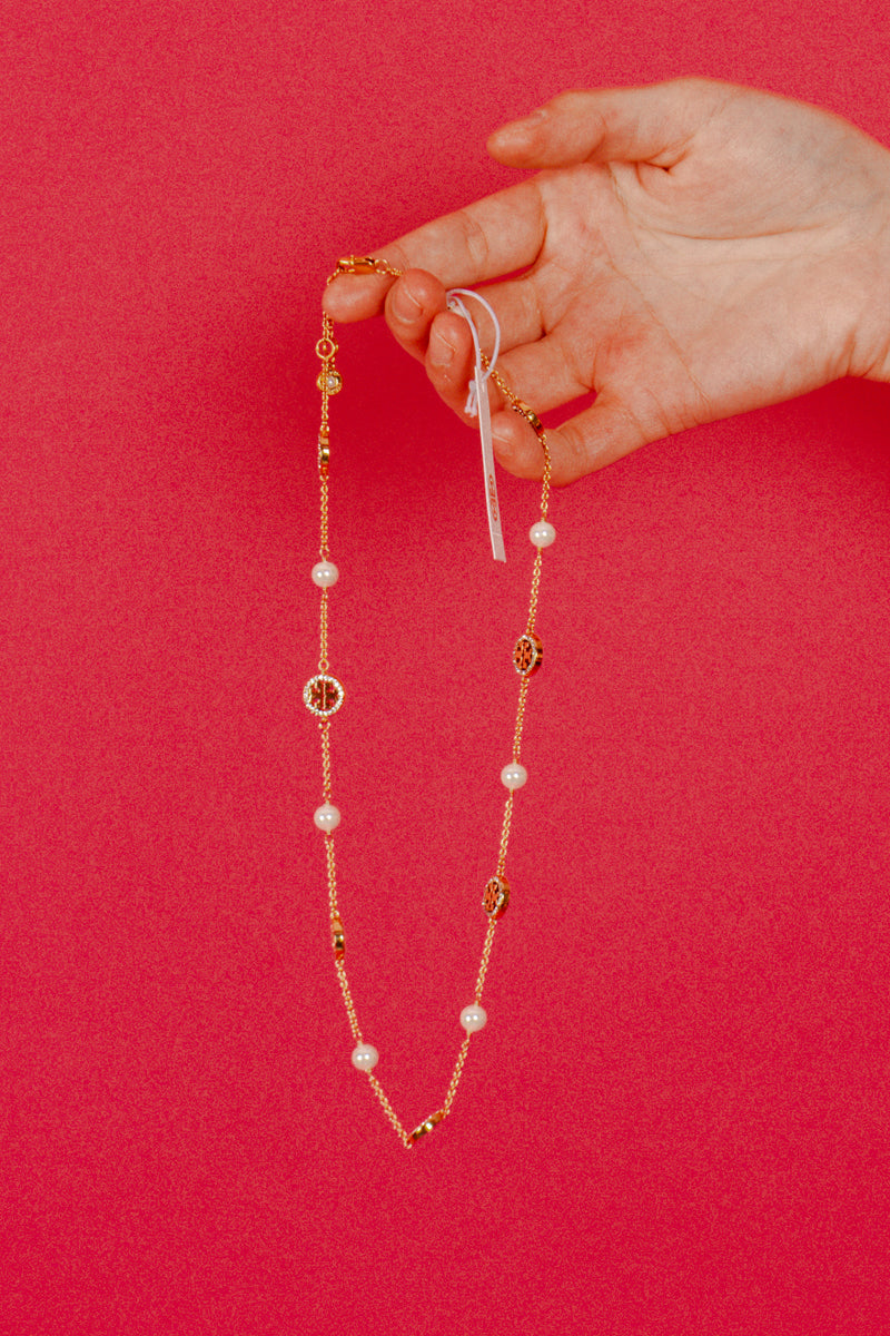 Tory Burch Crystal & Imitation Pearl Necklace
