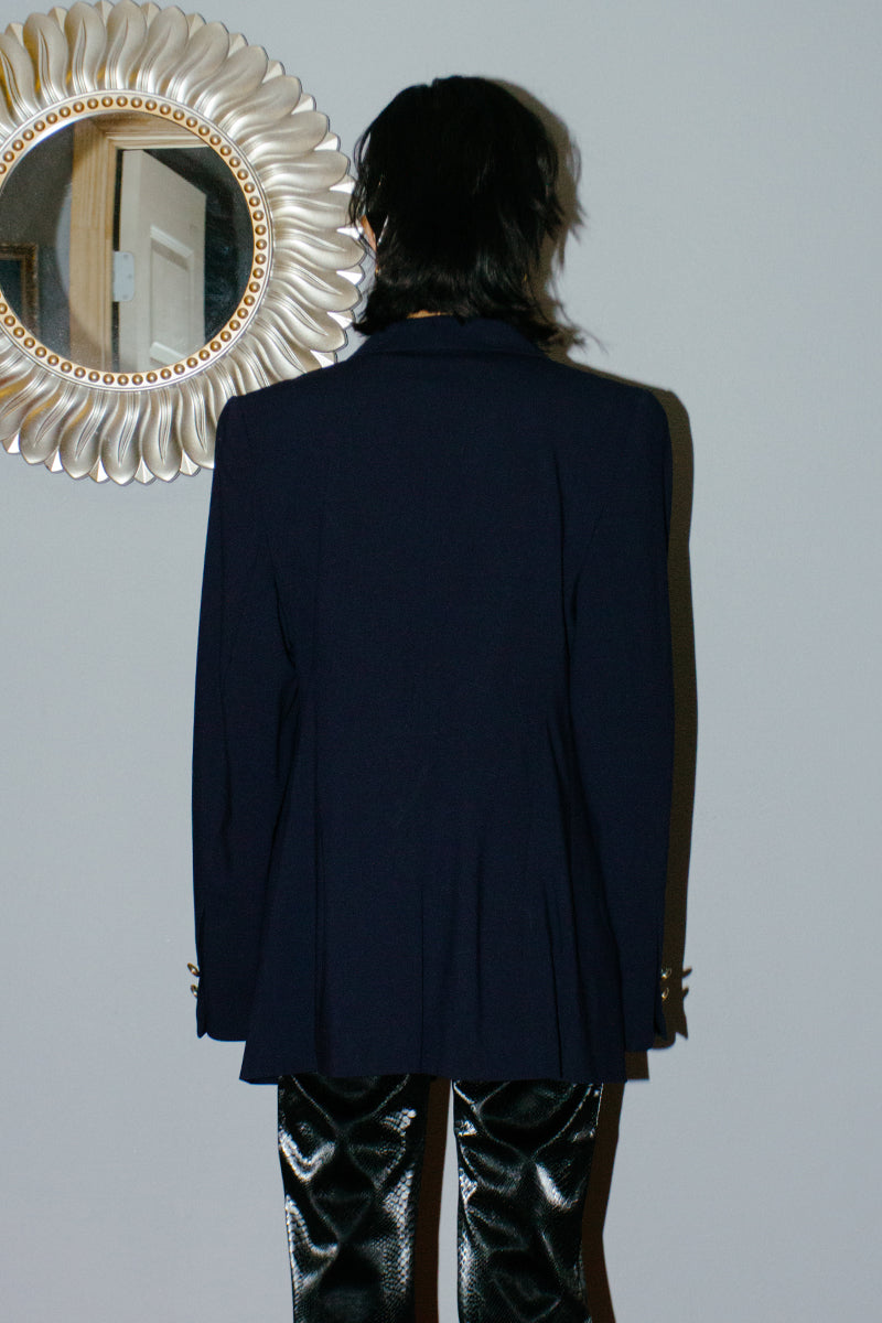 Vintage Louis Feraud Navy Virgin Wool Blazer