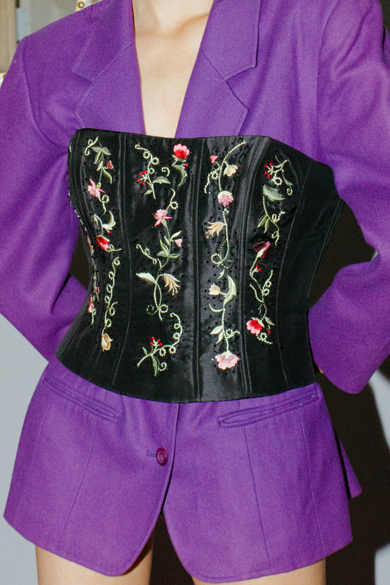 Vintage Rickie Freeman for Teri Jon Floral Embroidered Corset