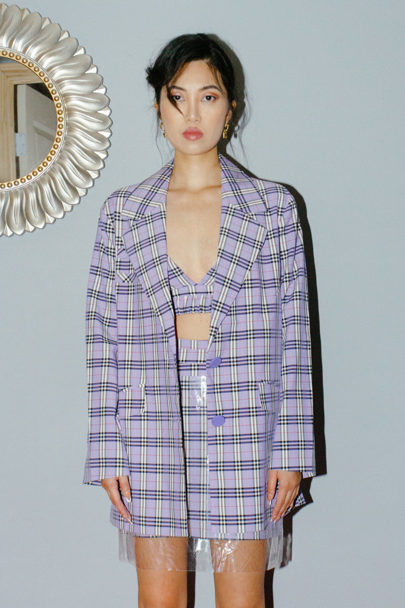 Csyce Studios Oversized Purple Plaid Blazer