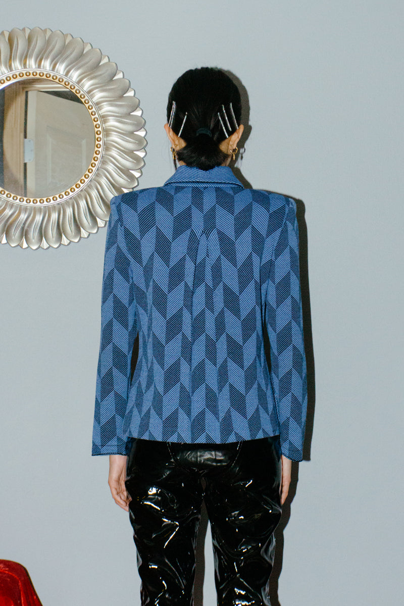 Vintage St. John Collection Blue Argyle Zipper Suit Jacket