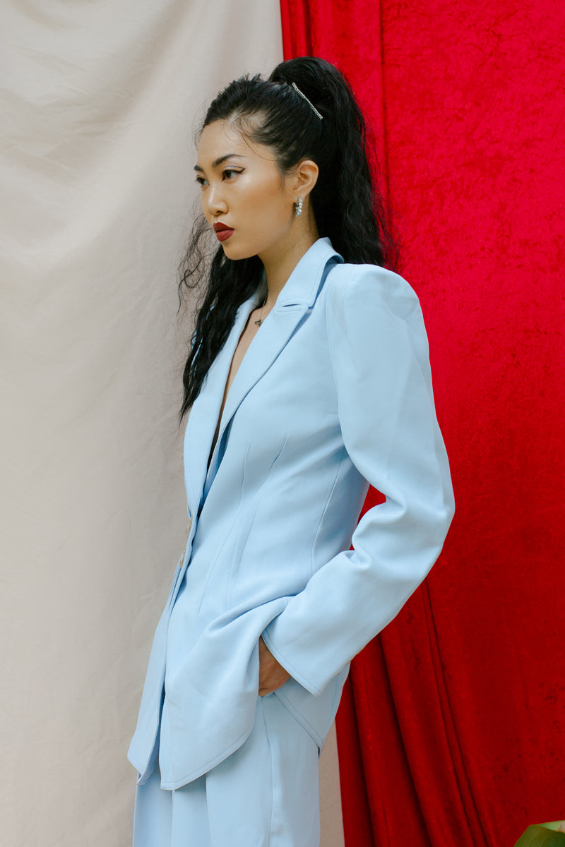C/Meo Collective Look Back Blazer Powder Blue