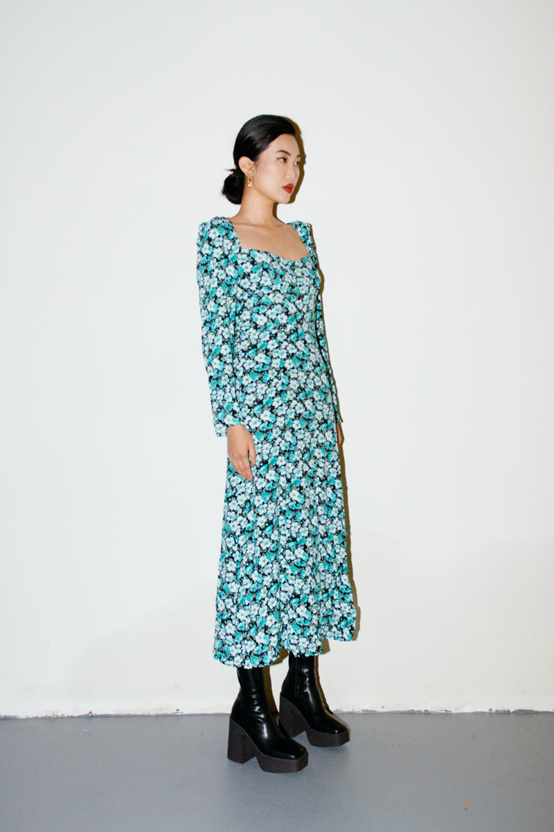 & Other Stories Multi Blue Floral Print Puff Long Sleeve Midi Dress