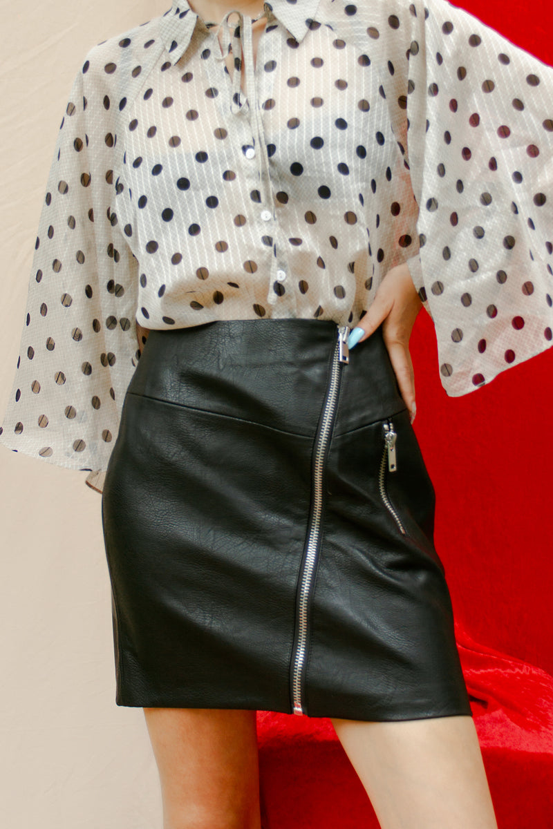 Stradivarius Leather Look Mini Skirt