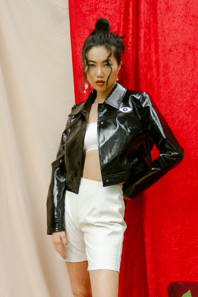 VEDA x Urban Outfitters Vegan Patent Leather Cropped Jacket