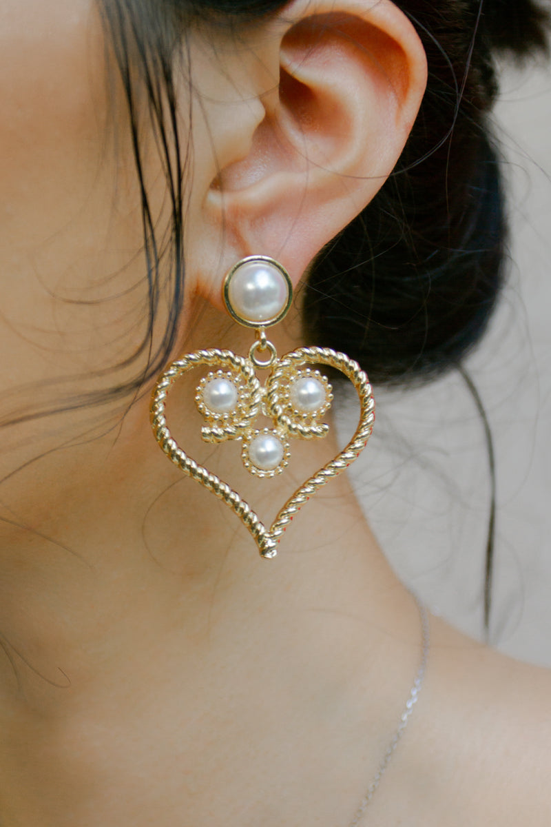 Baroque Heart Faux Pearl Earring