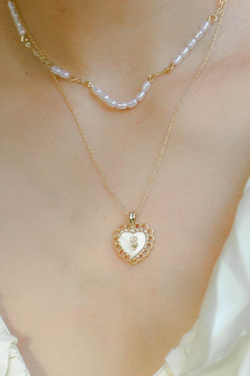 Rose Heart Pendant Necklace Set