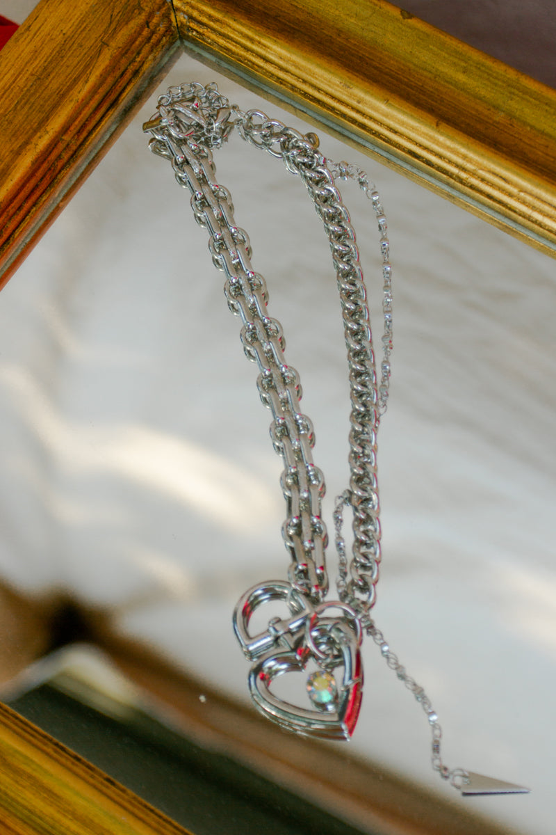 Asymmetrical Heart Chain Layer Necklace
