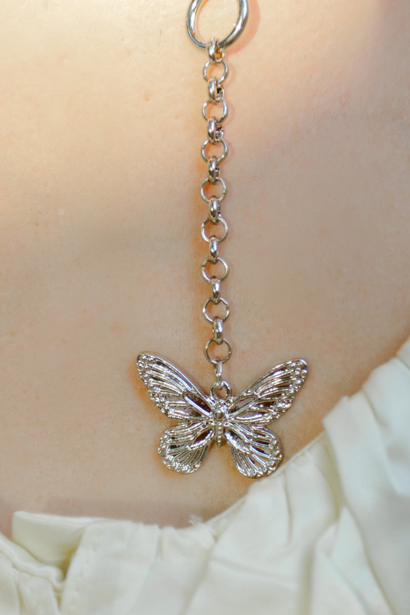 Butterfly Pendant Necklace Set in Silver