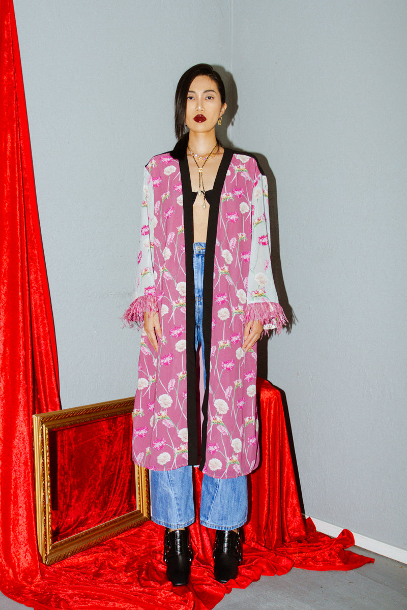 endless rose Floral Print Feather Sleeve Kimono