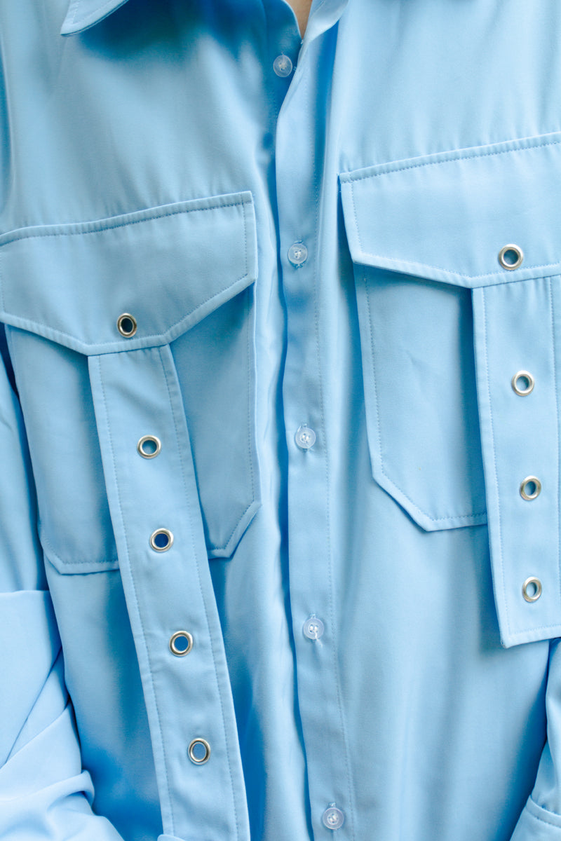 G-when Sky Blue Asymmetrical Straps Oversized Shirt