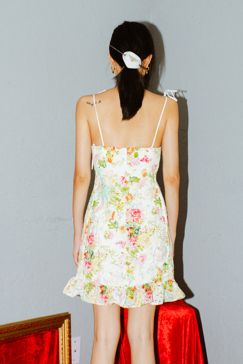 ASTR The Label Mirielle Floral Print Eyelet Dress