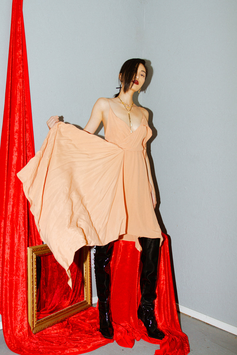 Off-White Draped Princess Dress in Nude