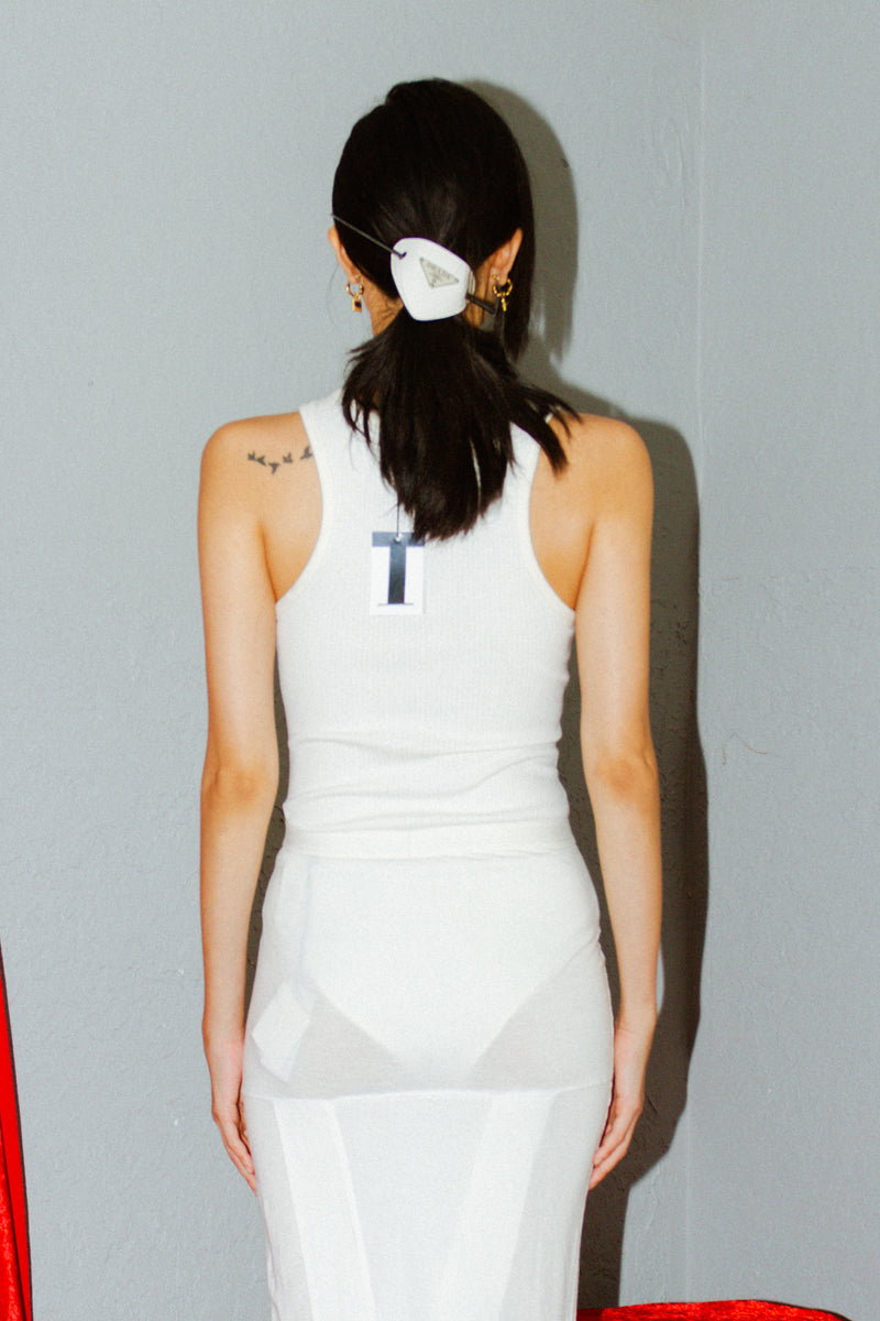 T by Alexander Wang White Ribbed Bodysuit