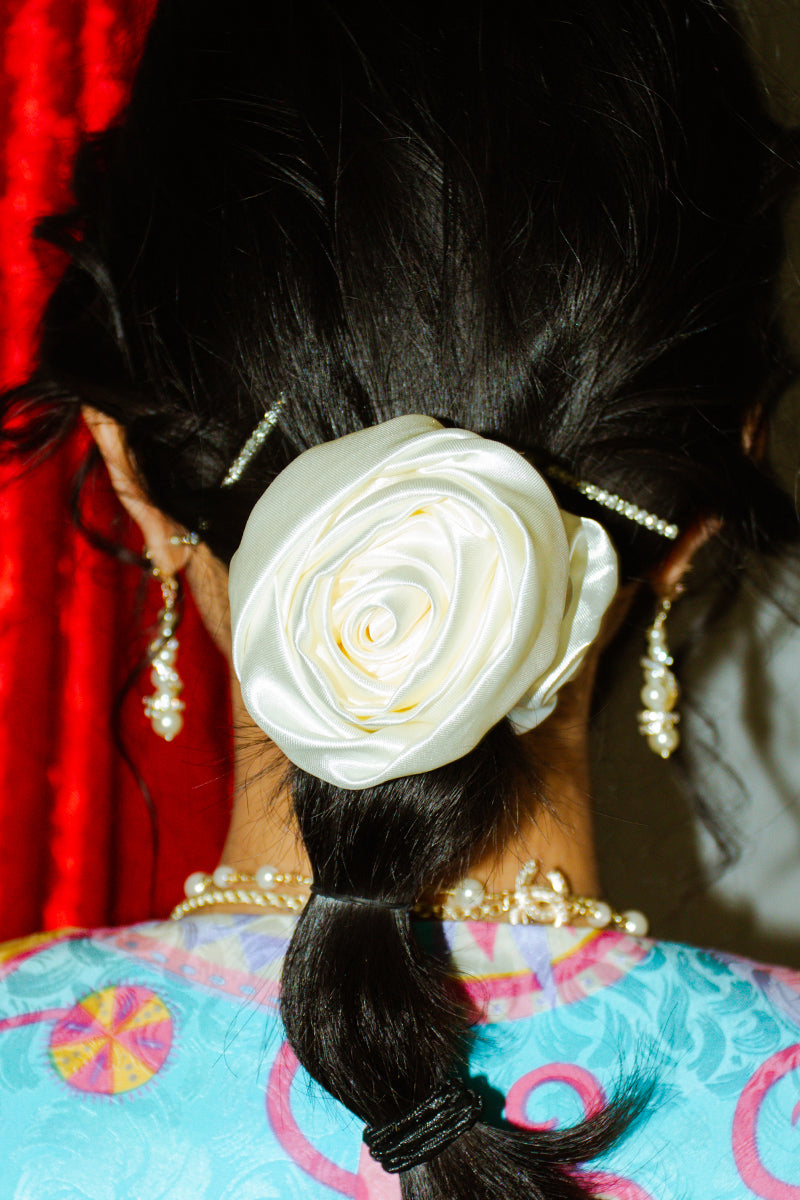 White Rose Satin Scrunchie