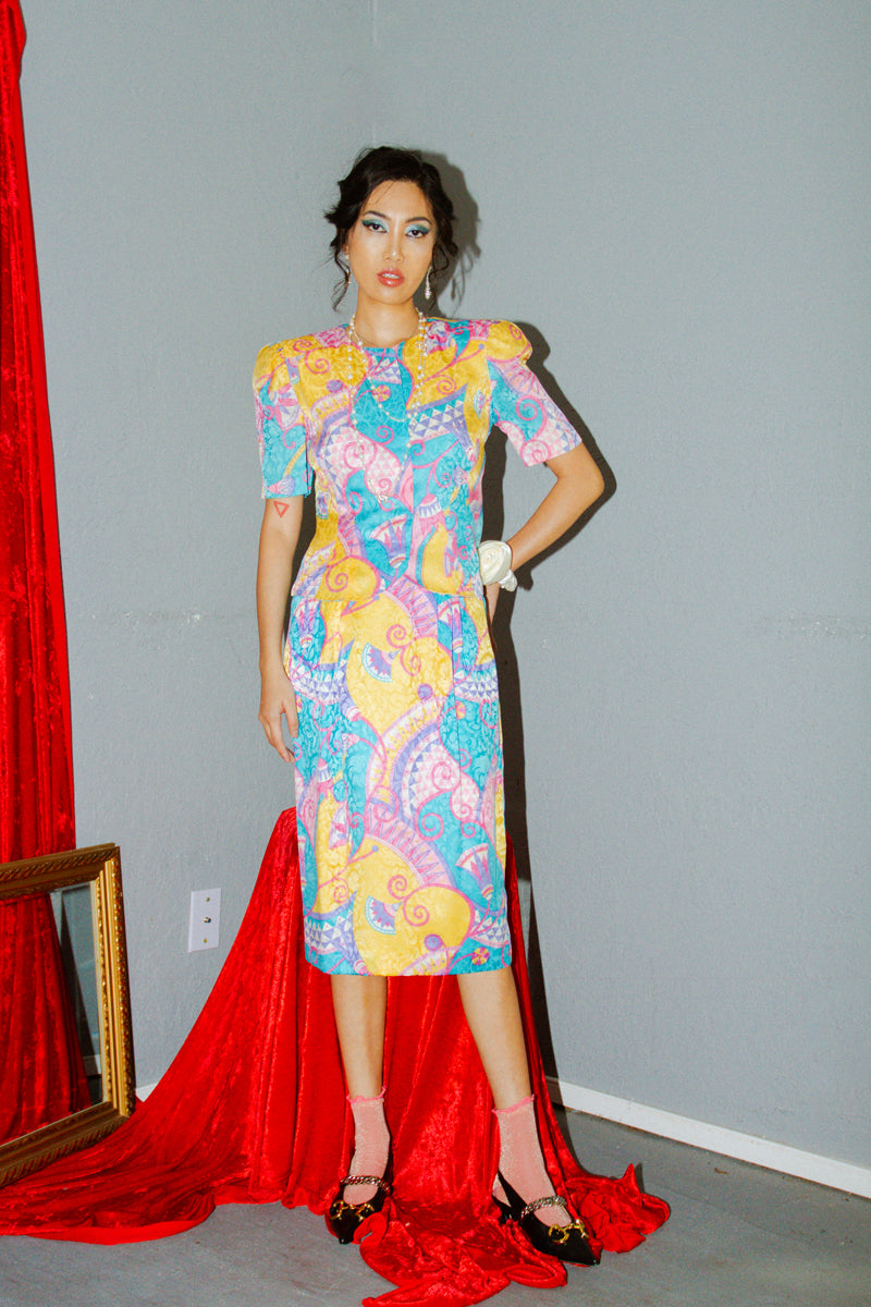 Vintage Adrianna Papell Silk Colorful 2-Piece Set