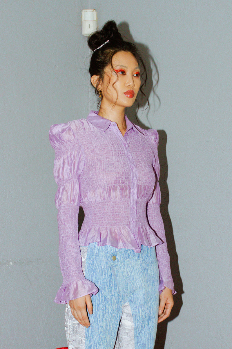 & Other Stories Fitted Smocked Shirt in Purple