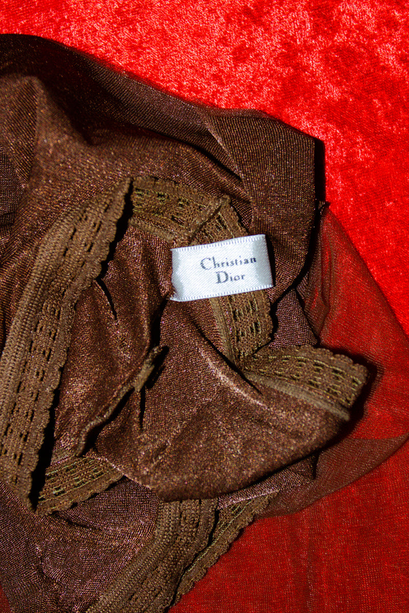 Vintage Christian Dior Stocking in Brown