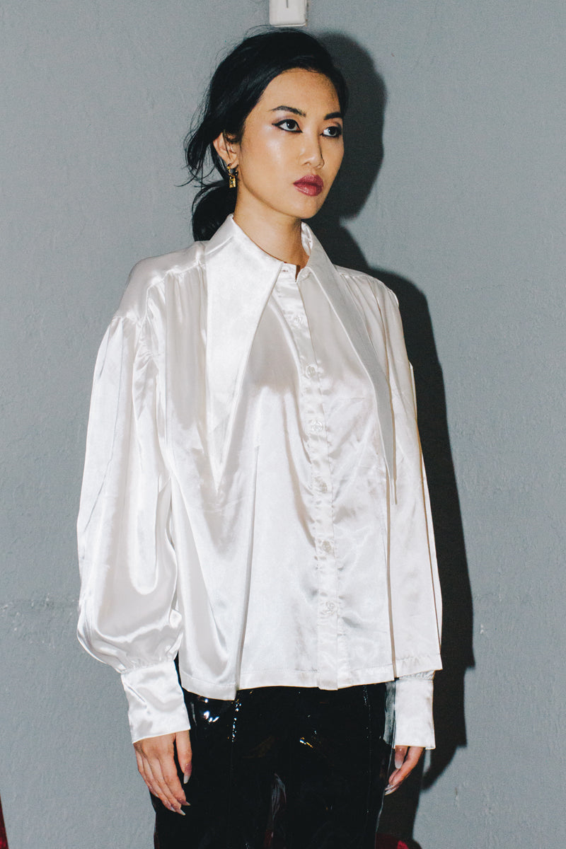 BLUEerror Extra Long Pointed Collar Satin Blouse
