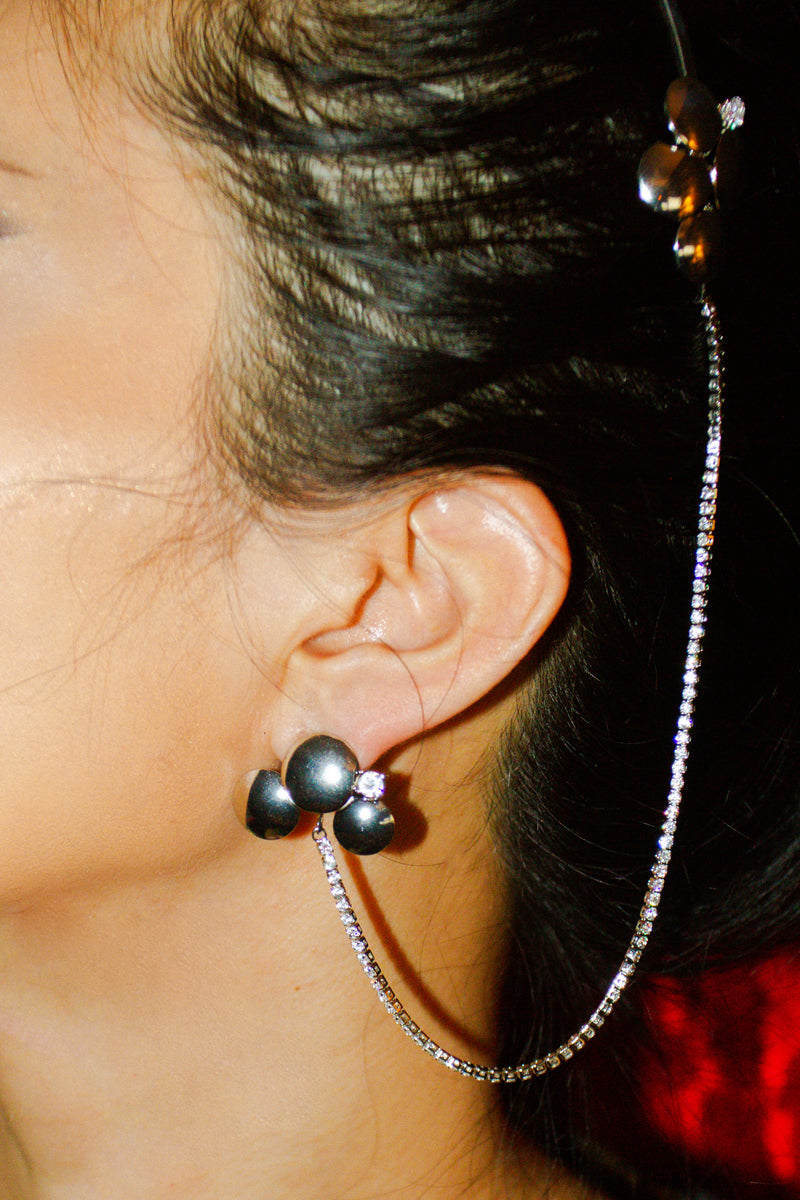Circle Earring & Hair Clip with Crystal Chain
