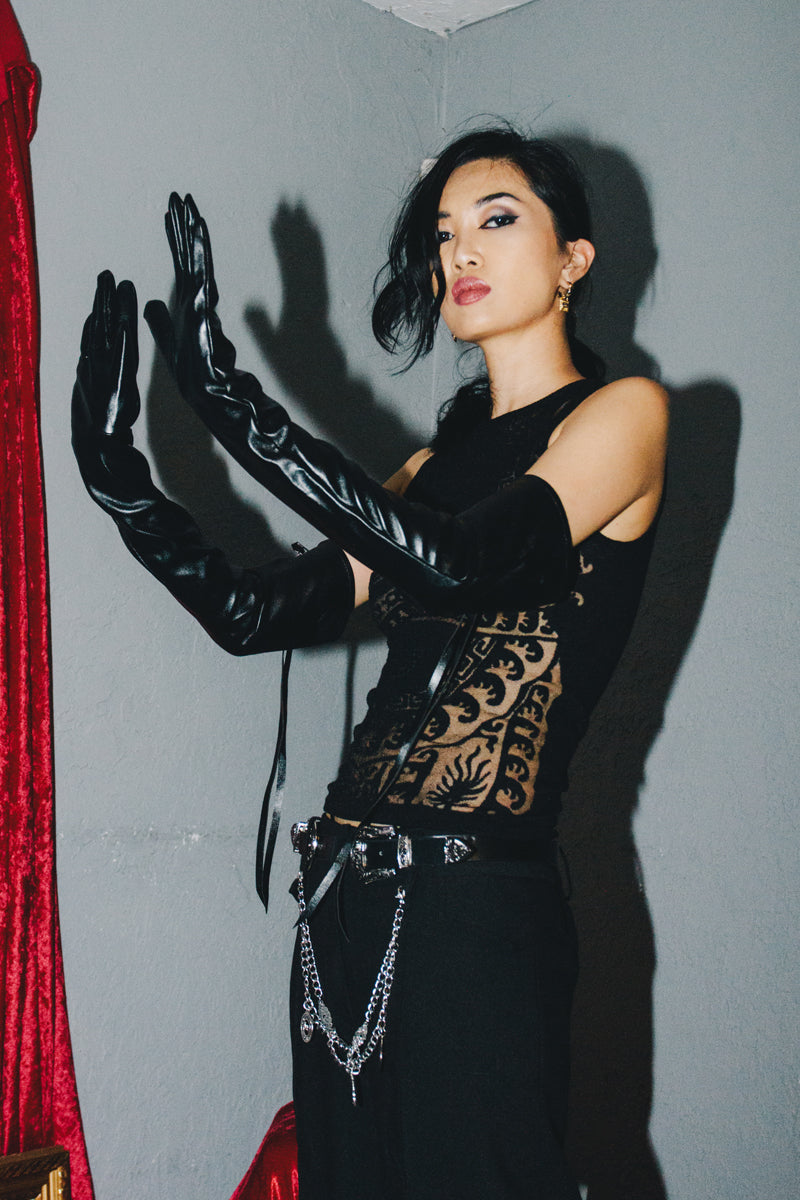 Vegan Leather Zipper Long Gloves