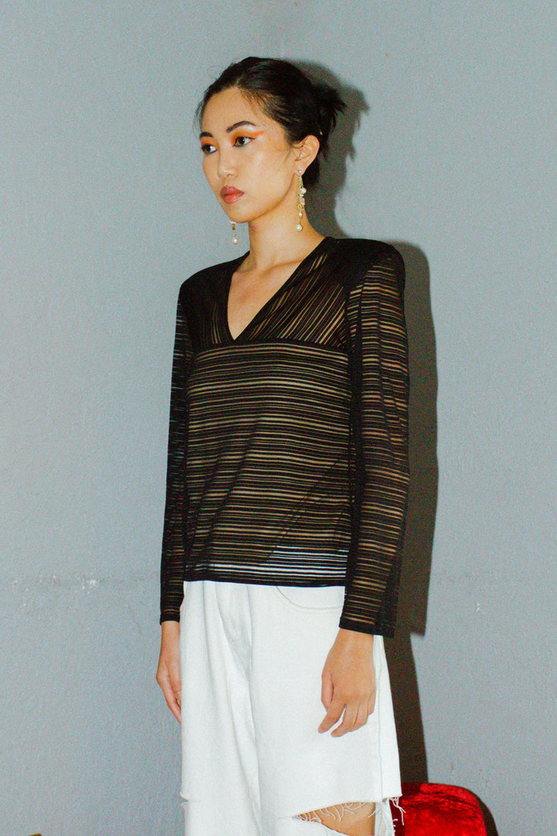 Vintage Vivienne Tam Striped Mesh Top with Lining
