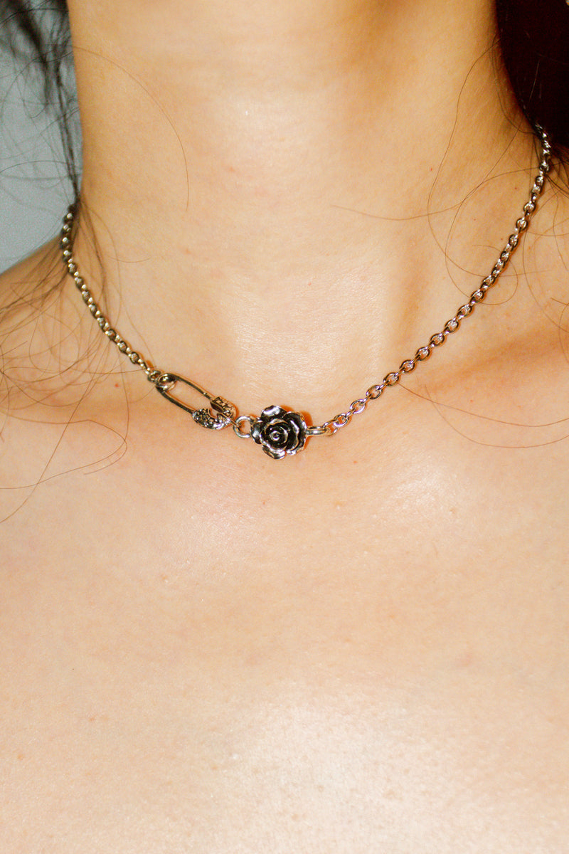 Delicate Rose Safety Pin Charm Necklace