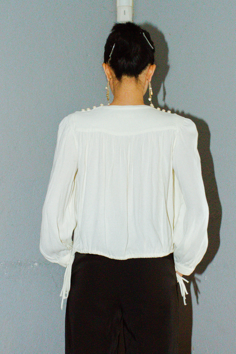 Isabel Marant Etoile White Crepe Tie Detail Nathael Top