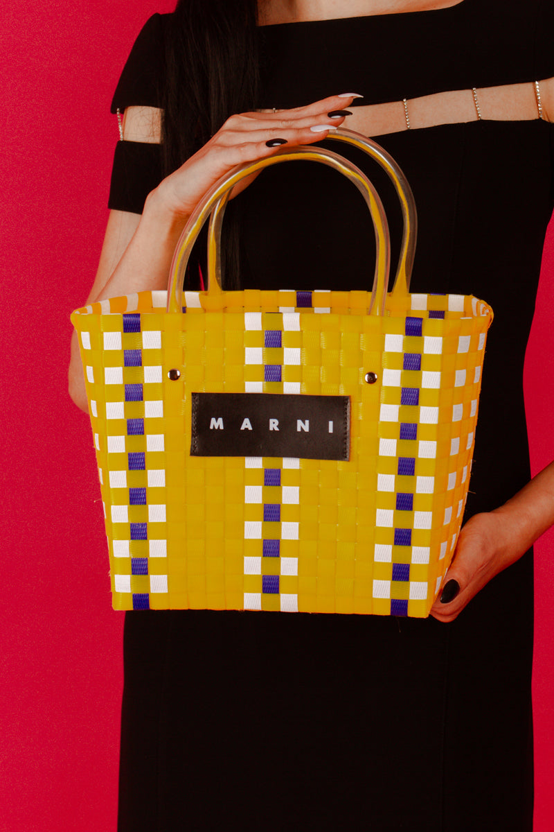 Marni Market Woven Charity Basket Shopping Tote Bag