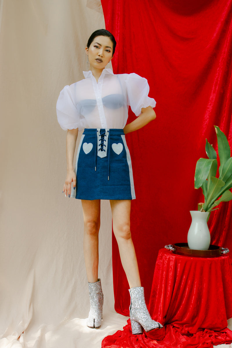 Lazy Oaf Double Denim Lace Up Skirt