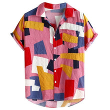Load image into Gallery viewer, Summer Men Shirts Hawaiian Fashion Plaid Printed Loose Short Sleeve