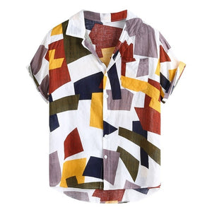 Summer Men Shirts Hawaiian Fashion Plaid Printed Loose Short Sleeve