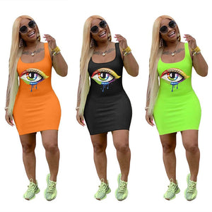 Women Dress big Eyes Printed Sleeveless