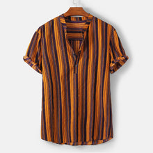 Load image into Gallery viewer, Fashion Striped Men Shirt Stand Neck Button Street-wear