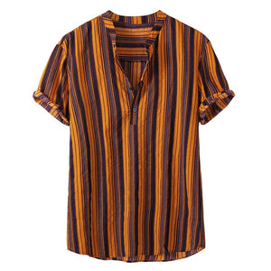 Fashion Striped Men Shirt Stand Neck Button Street-wear