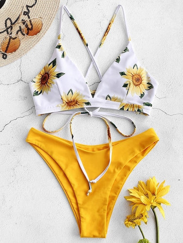Sunflower Printed Bikini Set Sexy