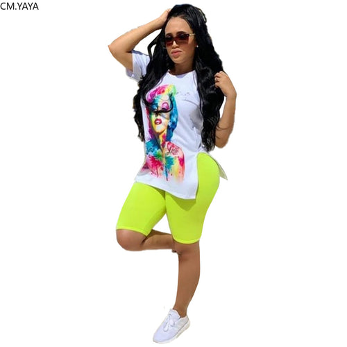 Women's set character print side slit t-shirt pencil knee length pants suit two piece set fashion
