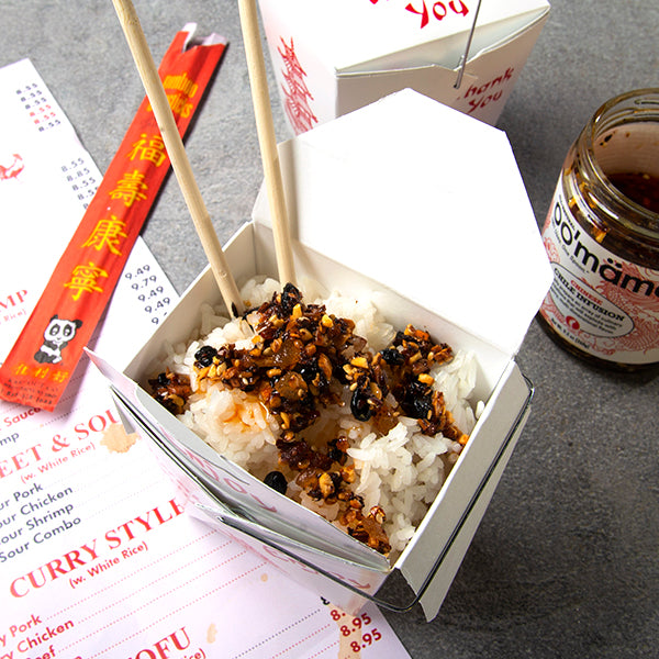 Chinese leftover rice with oo'mämē Chinese Chile Crisp with take out menu and chopsticks