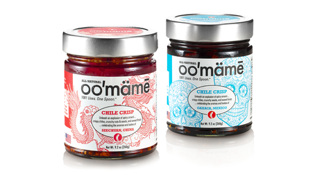 Jars of oo'mämē Chinese and Mexican Chile Crisp