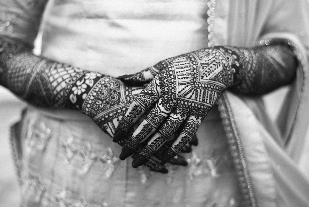 Black and white photo of Moroccan Henna Tattoo Design