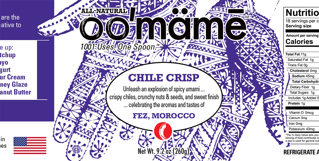 oo'mame Moroccan Chile Crisp label with hennaed hands
