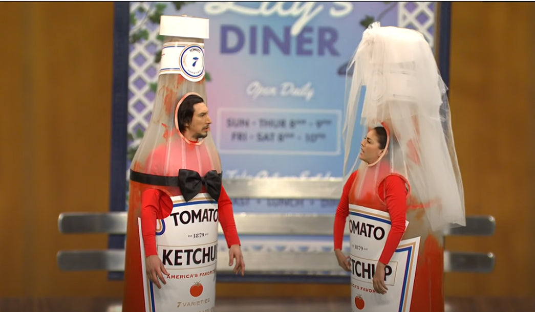 Adam Driver and Cecily Strong in SNL Ketchup Sketch