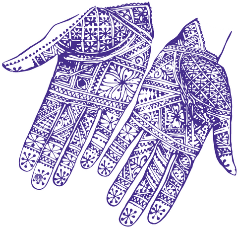 Label art for oomame Moroccan Chile Crisp based on Henna Tattooed Hands