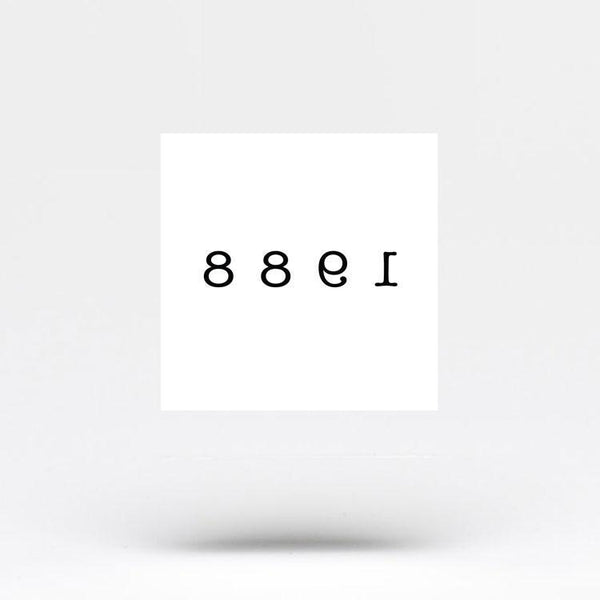 number 1988 temporary tattoo sticker