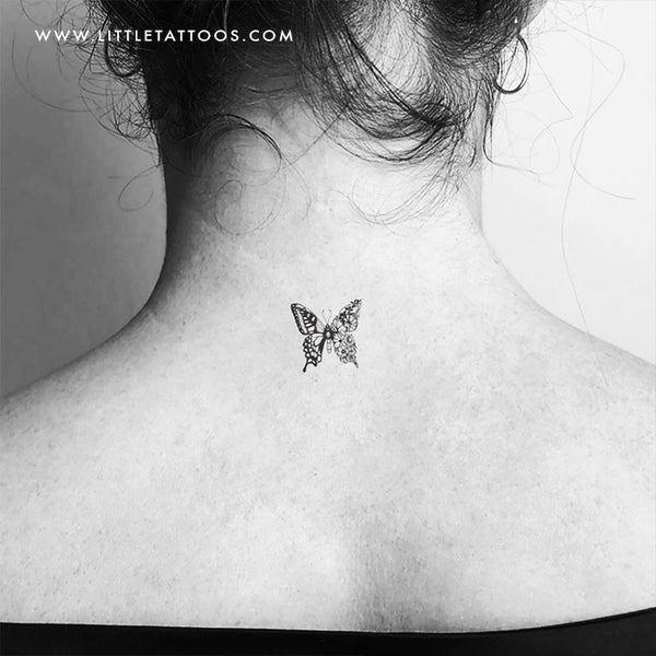 Half Flower Butterfly Temporary Tattoo - Set of 3